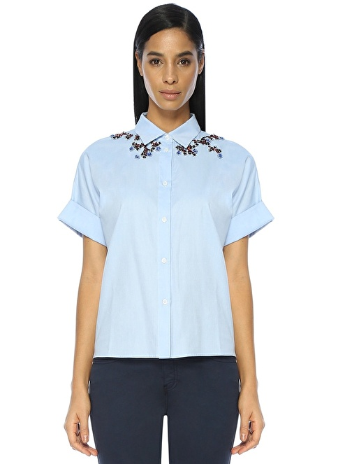Beymen Collection Çiçekli Gömlek Mavi